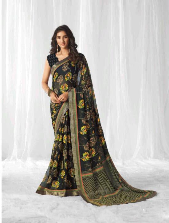Best New Black Color Designer Saree With Designer Blouse.