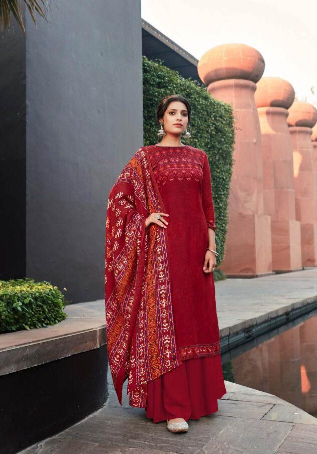 Best Red Color Pure Pashmina Winter salwar kameez