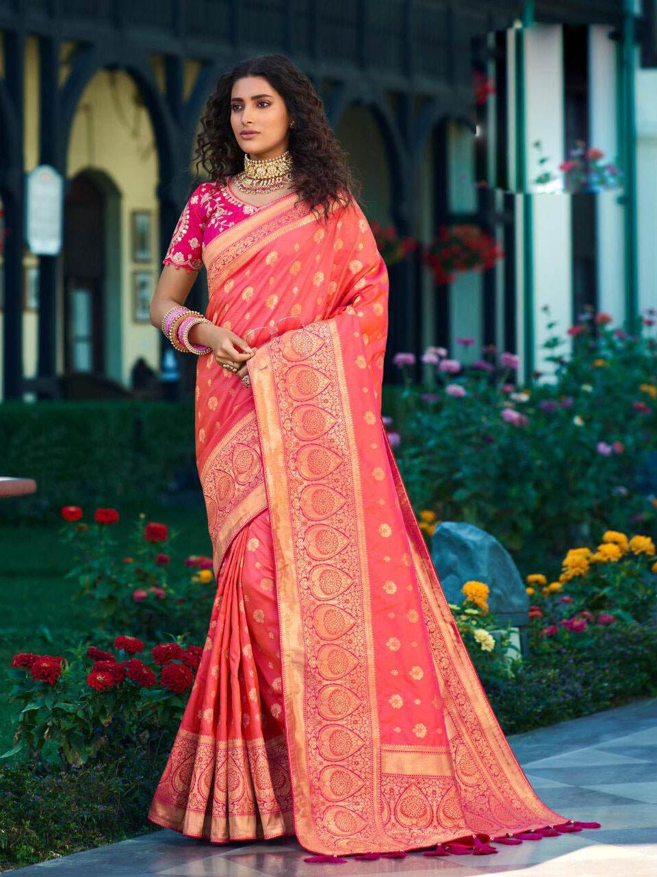 Best Trend Designer Orange Color Banarsi Silk Saree Online Price