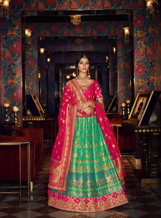 Best Trending Latest Designer Sky Blue Color Lehenga For Bride