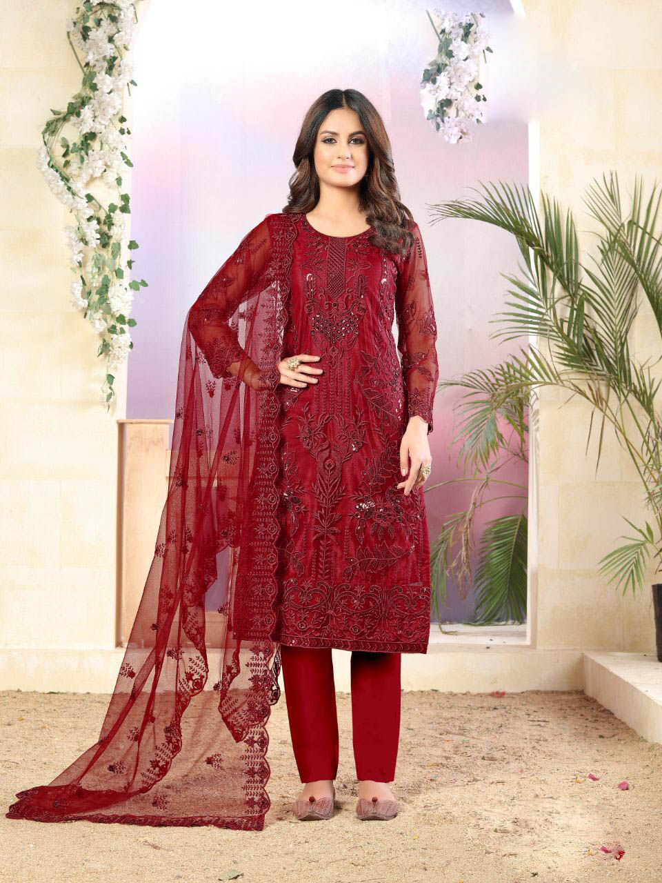 Best Up To Date Red Color Designer Net Salwar Suit With Online Cost