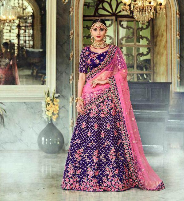 Best Zari Style Blue Color Lehenga For Bridal Online Cost.
