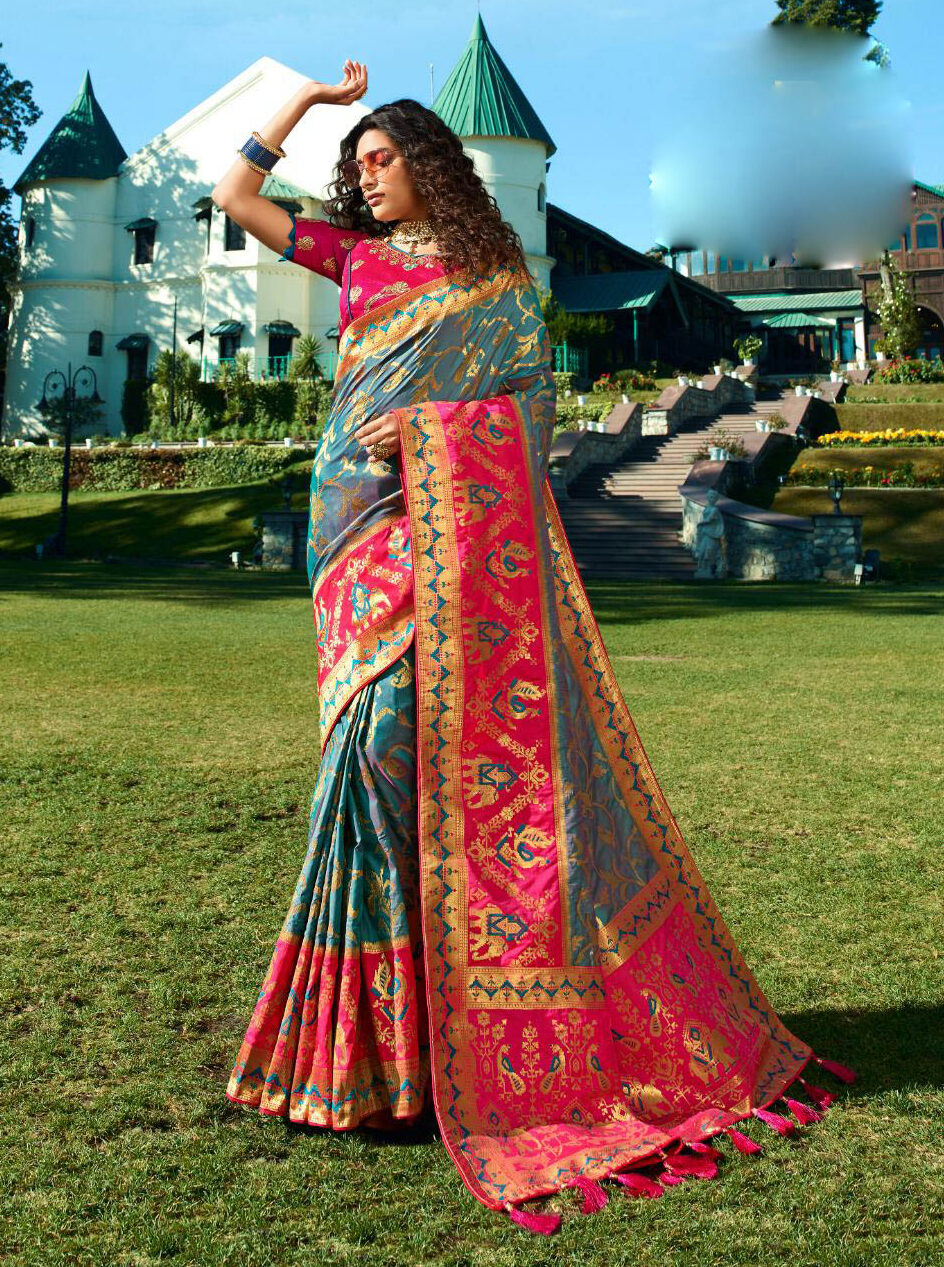 Best latest Update Grey Color Banarsi Silk Saree With Blouse