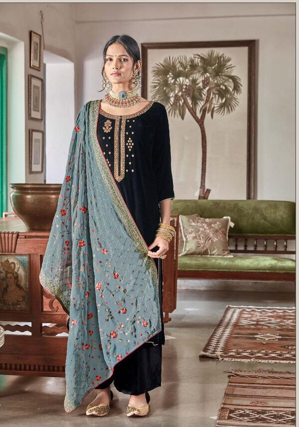 Best look Black Color Punjabi Suits With Heavy Dupatta With Price