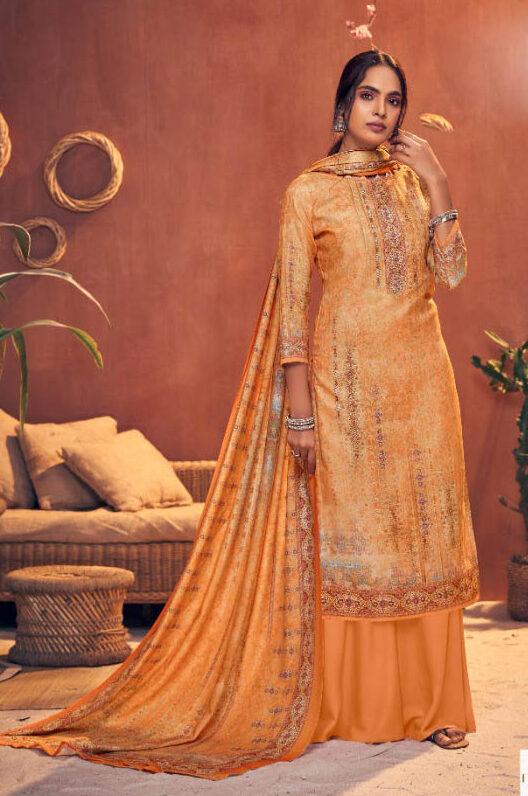 Best orange Color Pashmina Digital Print Salwar Kameez.