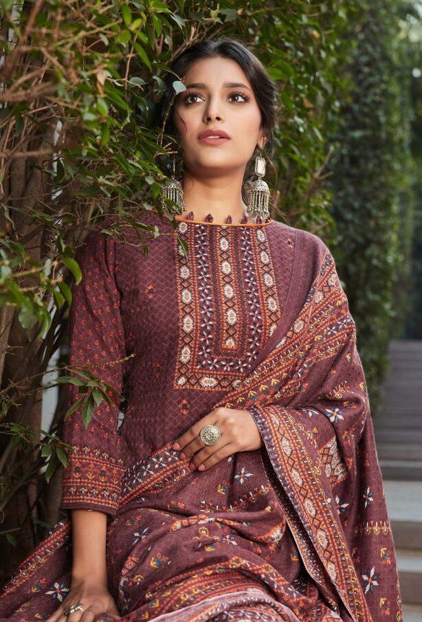 Best wood color Pure Pashmina Winter salwar kameez