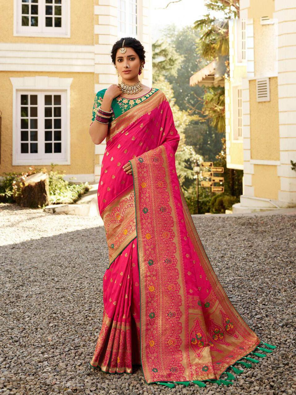 Brand New Pink Color Banarsi Silk Saree For Wedding.