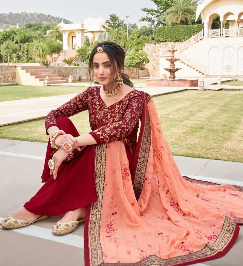 Bridal Punjabi Suits with Heavy Peach Colour Dupatta