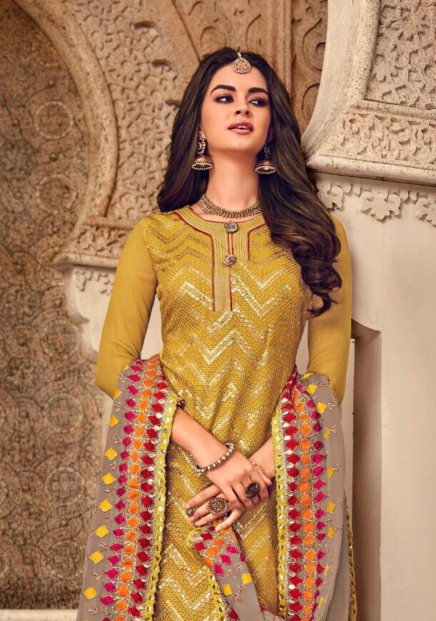 Gold Colour Latest Embroidered Sharara Suit with Heavy Dupatta