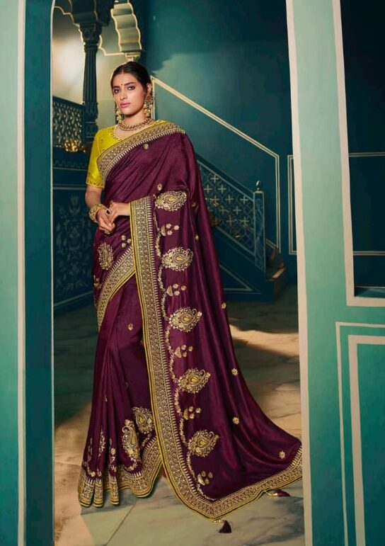 Green Blouse Wine Colour Heavy Sarees for Wedding with Price