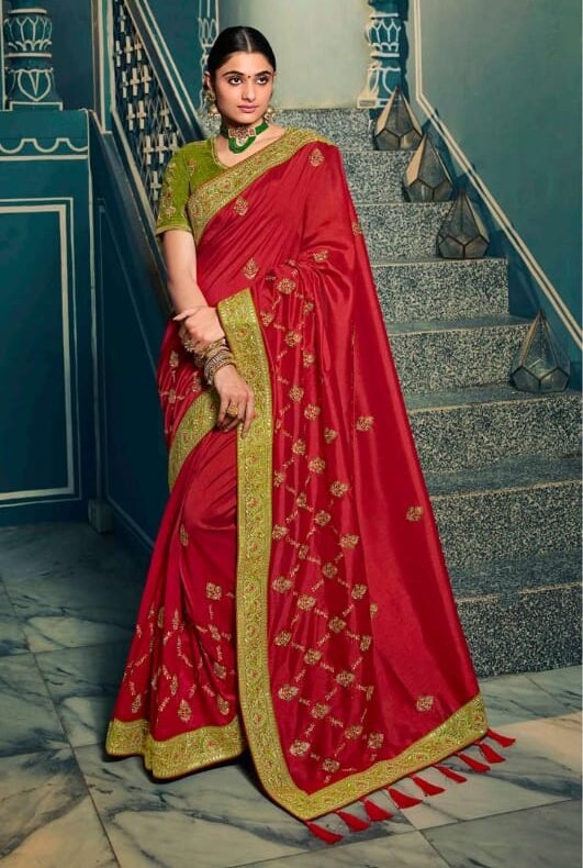 Green Blouse with Red Wedding Saree Collection with Price