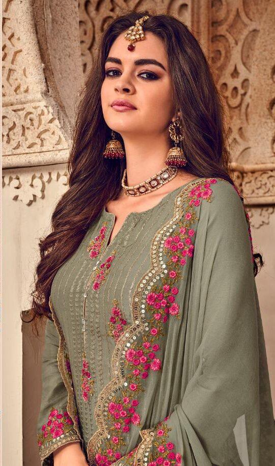 Grey Colour Sharara Suits with Long Kameez