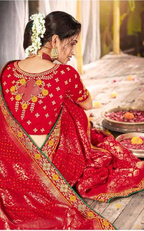 Latest Arrived Red Designer Saree For Wedding