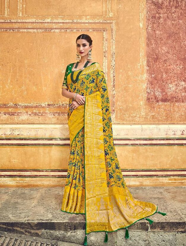 Latest Designer Green Yellow Saree Blouse Combination