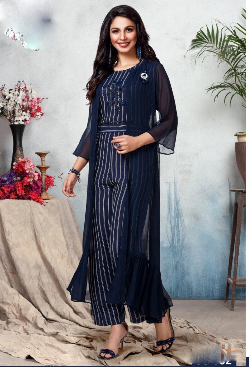 Latest Designer Line Print Royal Blue Indian Traditional Jumpsuits with Shrug