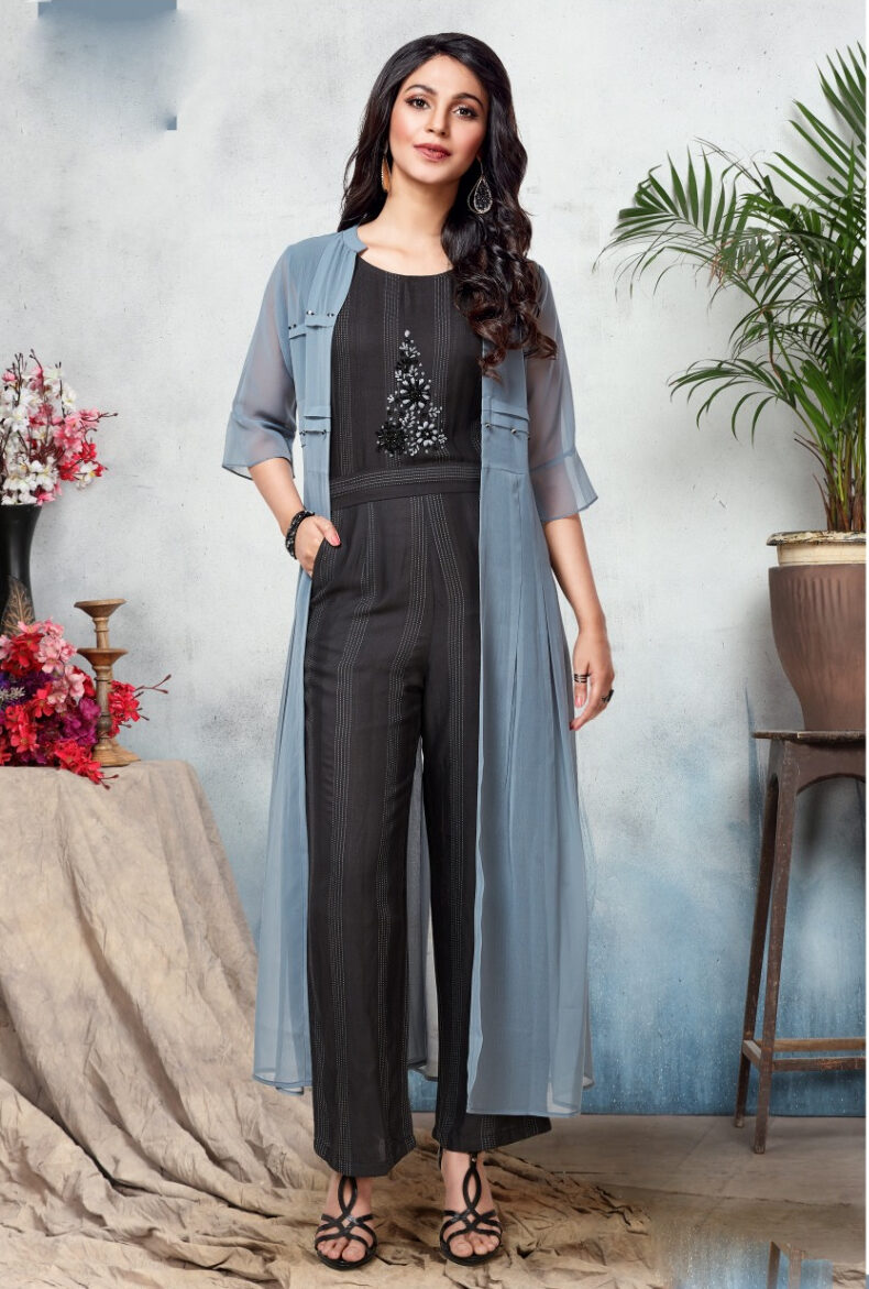 Latest Designer Party Wear Jumpsuit with Shrug