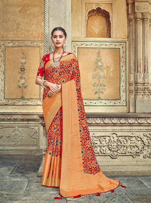 Latest Red Designer Saree for Wedding with Heavy Blouse