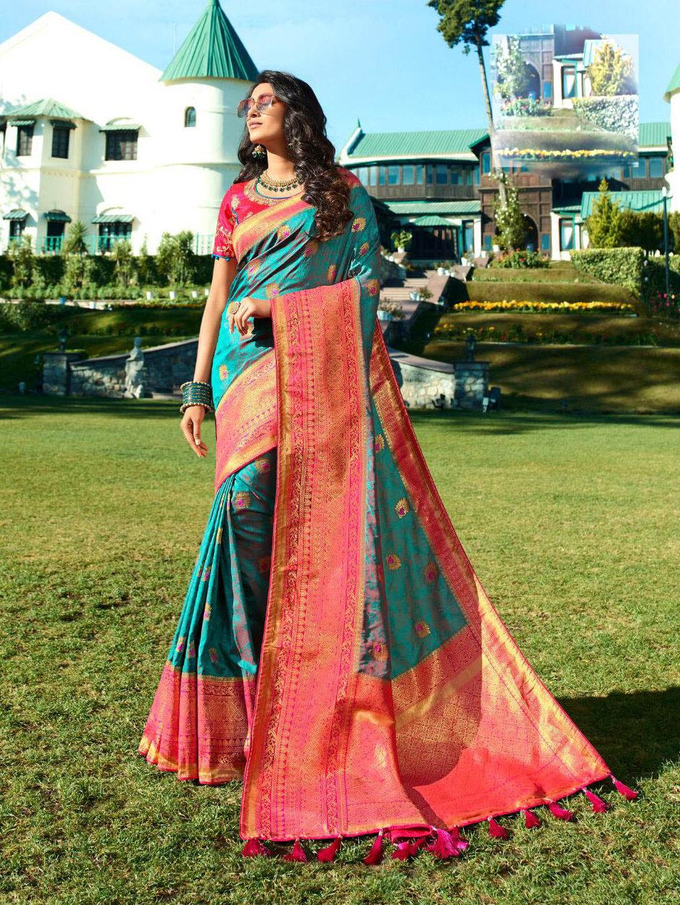 Latest Update Sky Blue Color Banarsi Silk Saree Online Price