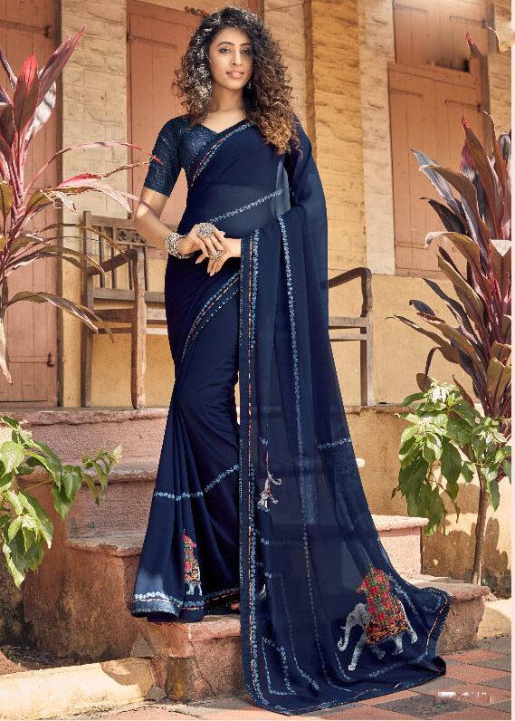 Latest Up to Date trend designer Blue Color Georgette Saree