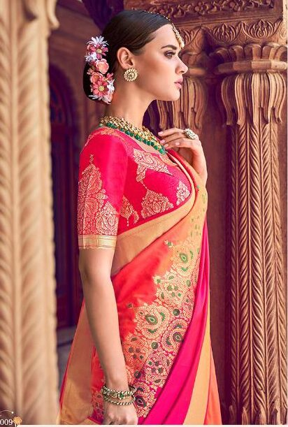 Latest Wedding Sarees Collection in Silk Magenta with Yellow