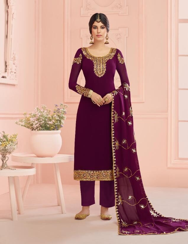 Meher Dress Designs of Plazo Suits in Maroon Colour