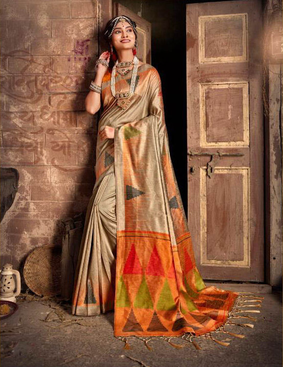 New Best Designer Dull White Color silk Saree With Orange Blouse