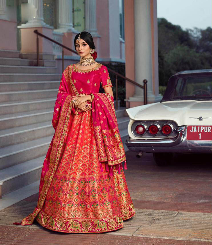 New Best Trend Designer Orange Color Silk Lehenga For Wedding
