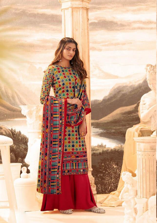 New Best Trend Designer Red Color Pure Pashmina Suit.