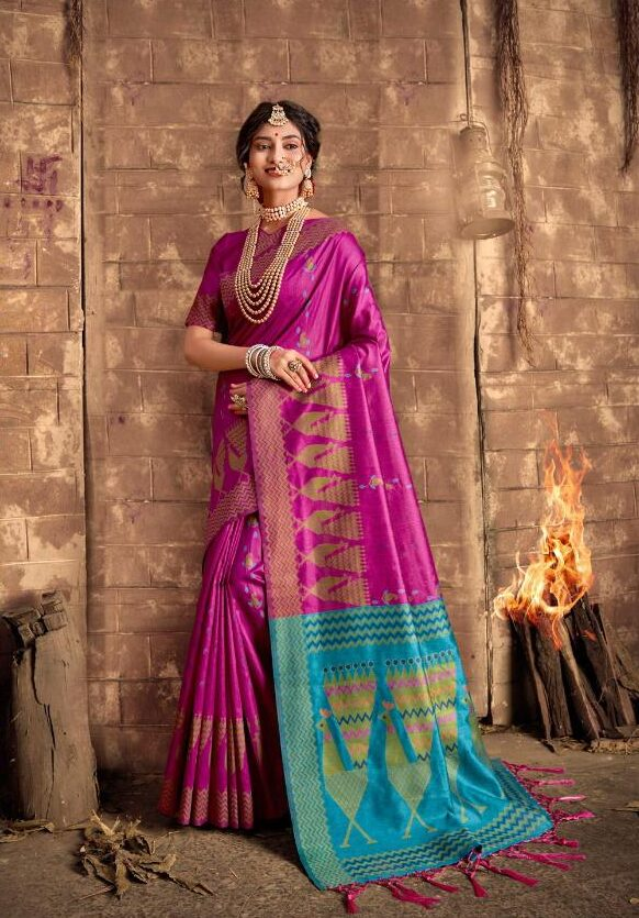 New Bollywood Outfits Pink Color Cotton With Silk saree