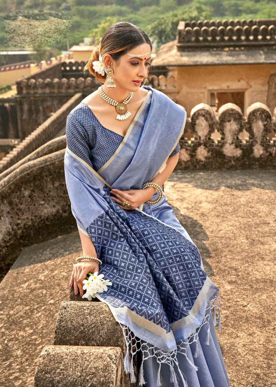 New Brand Mode Light Blue Cottton Silk Saree For Bride