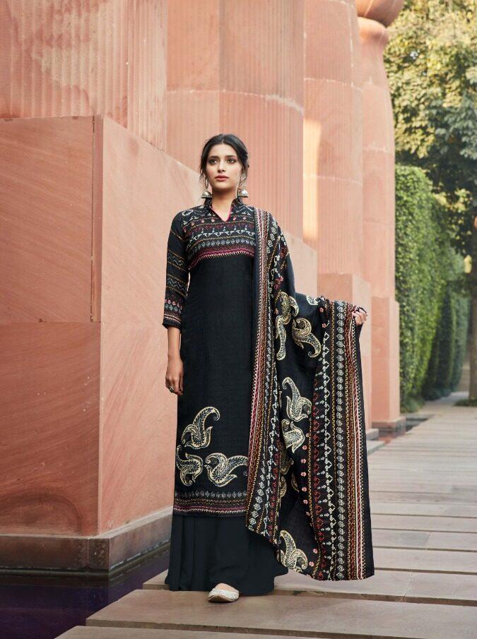 New Designer Black Color Pashmina Winter Suit