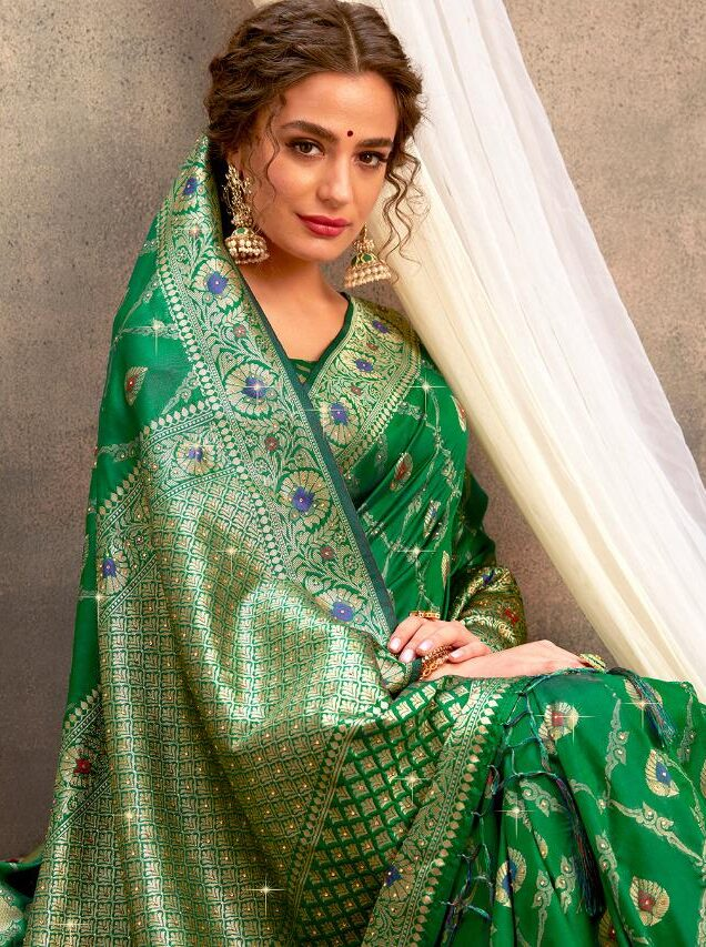 New Designer Dark Green Silk Saree with Golden Border