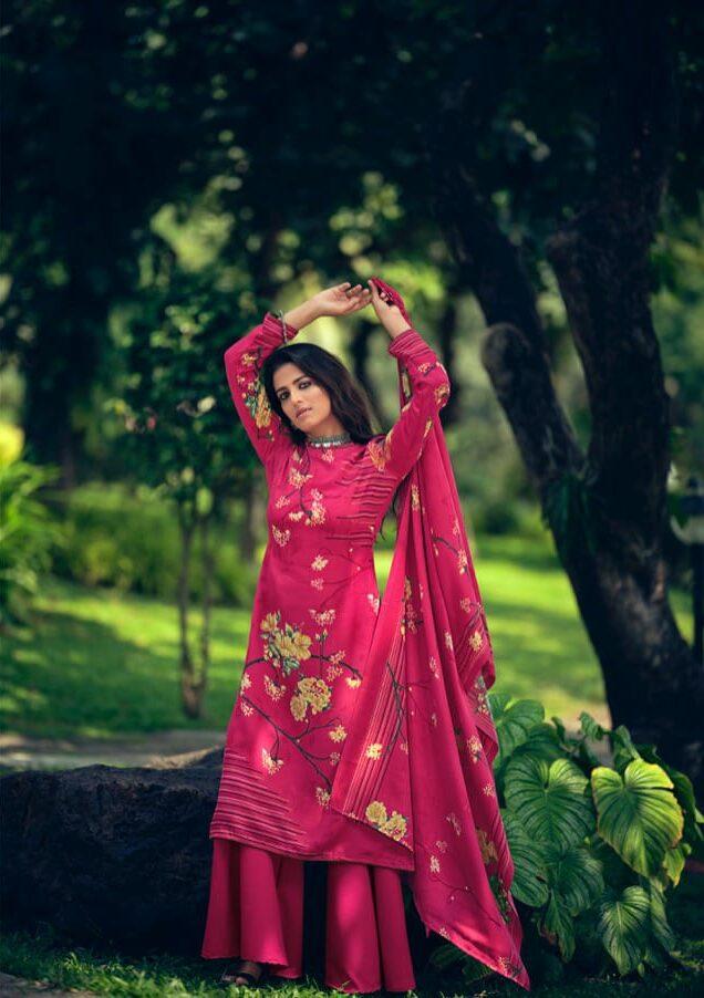 New Designer Pink Color Pashmina Digital Printed Suit