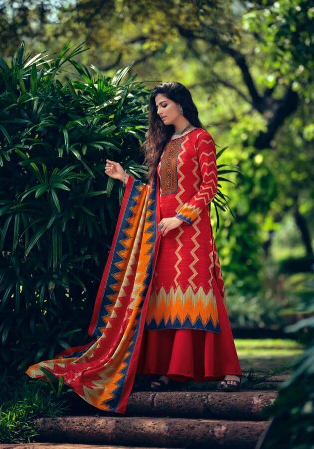 New Designer Red Color Pashmina Winter Suit Online.