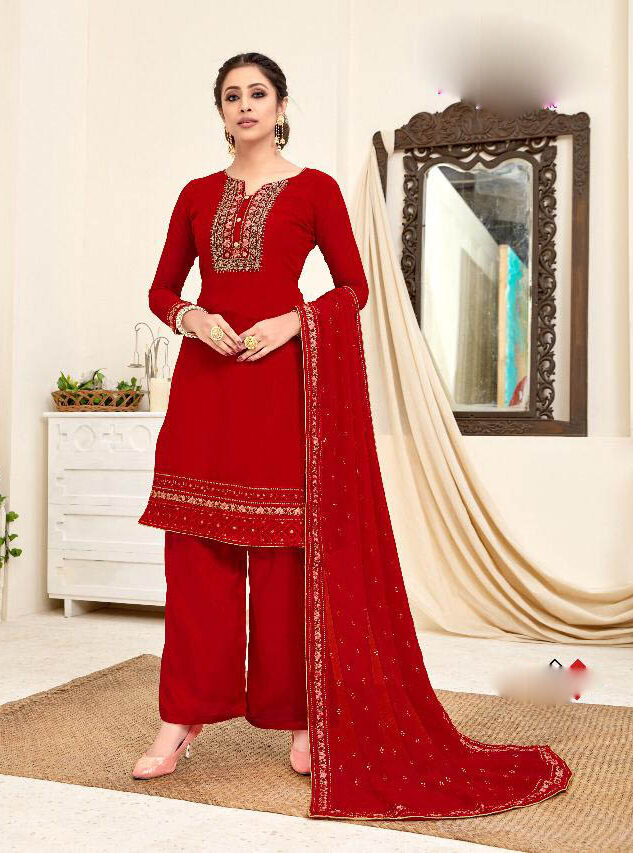 New Designer Red Color Punjabi Suit For Girls
