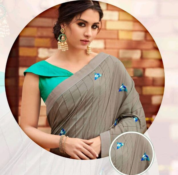 New Designer Saree with Contrast Blouse