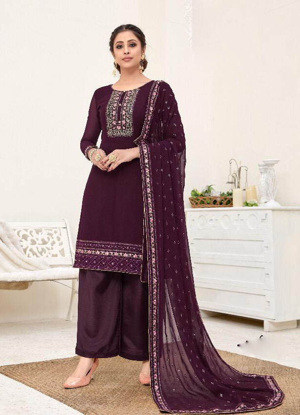 New Heavy Embroidered Light Purple Color Suit For Online Cost.