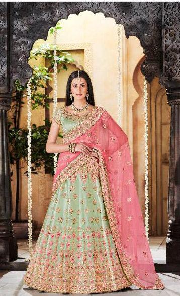 New Latest Designer Light Green Color Lehenga For Wedding.