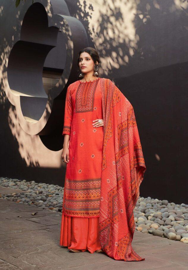 New Latest Light Orange Color Pashmina Suit For Bride.