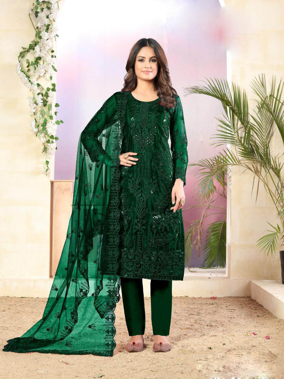 New Latest Outfits Green Color Best Net Designer Online Cost