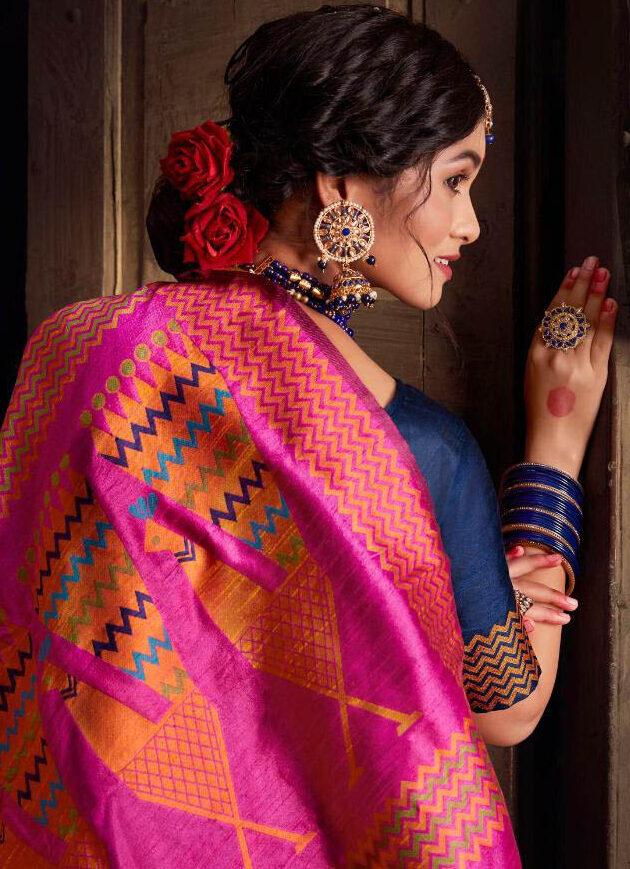 New Latest Update Blue Color Silk Saree Designer Blouse Online.