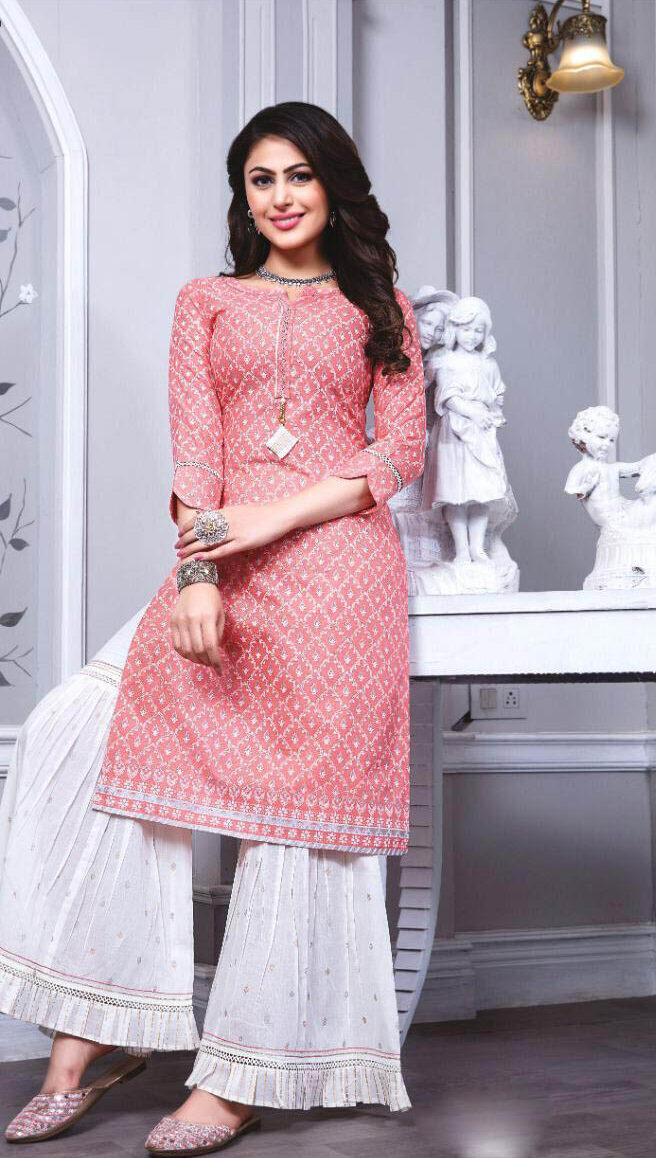 New Light Pink Color Woolen Kashmiri Salwar Kameez