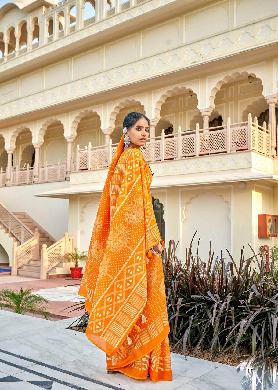 New Mode Inventer Light Orange Color Silk Saree Online.