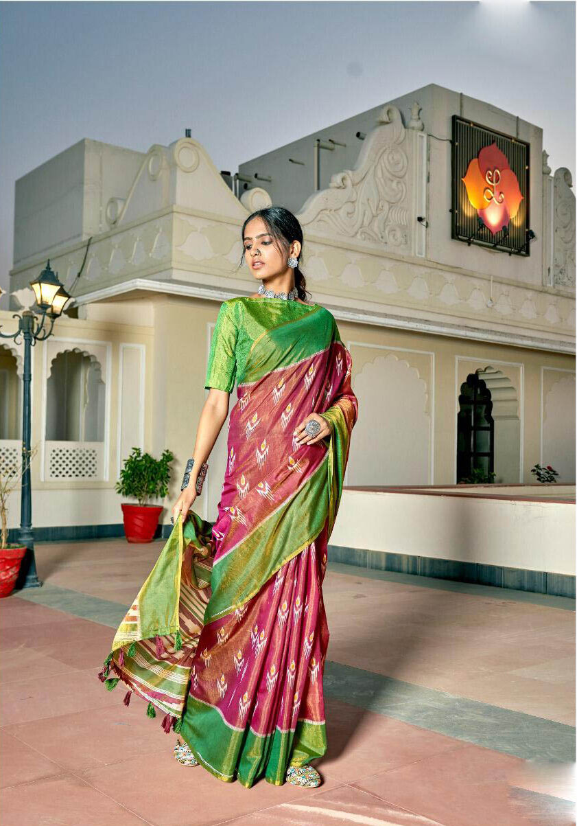 New Mode Maker Pink Color Silk Saree With green Blouse.