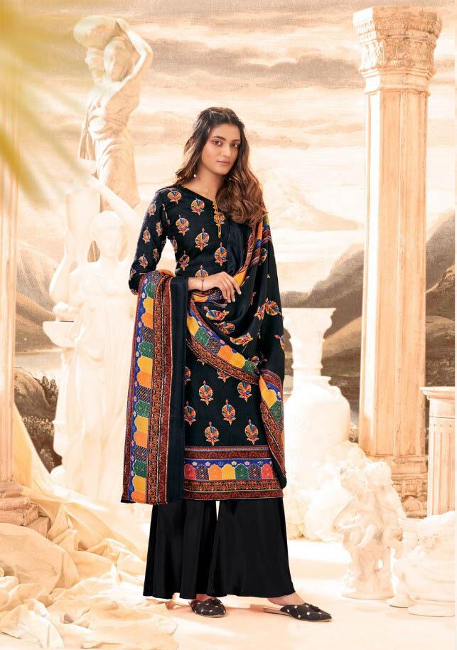 New Trend Designer Black Color Pure Pashmina Suit.