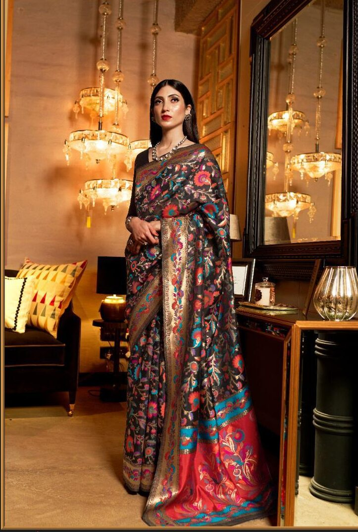 New Trend Designer Black Color Kashmiri Silk Saree In Banglore.