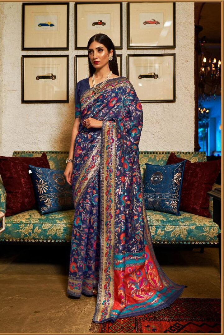 New Trend Designer Blue Color Kashmiri Silk Saree For Bride