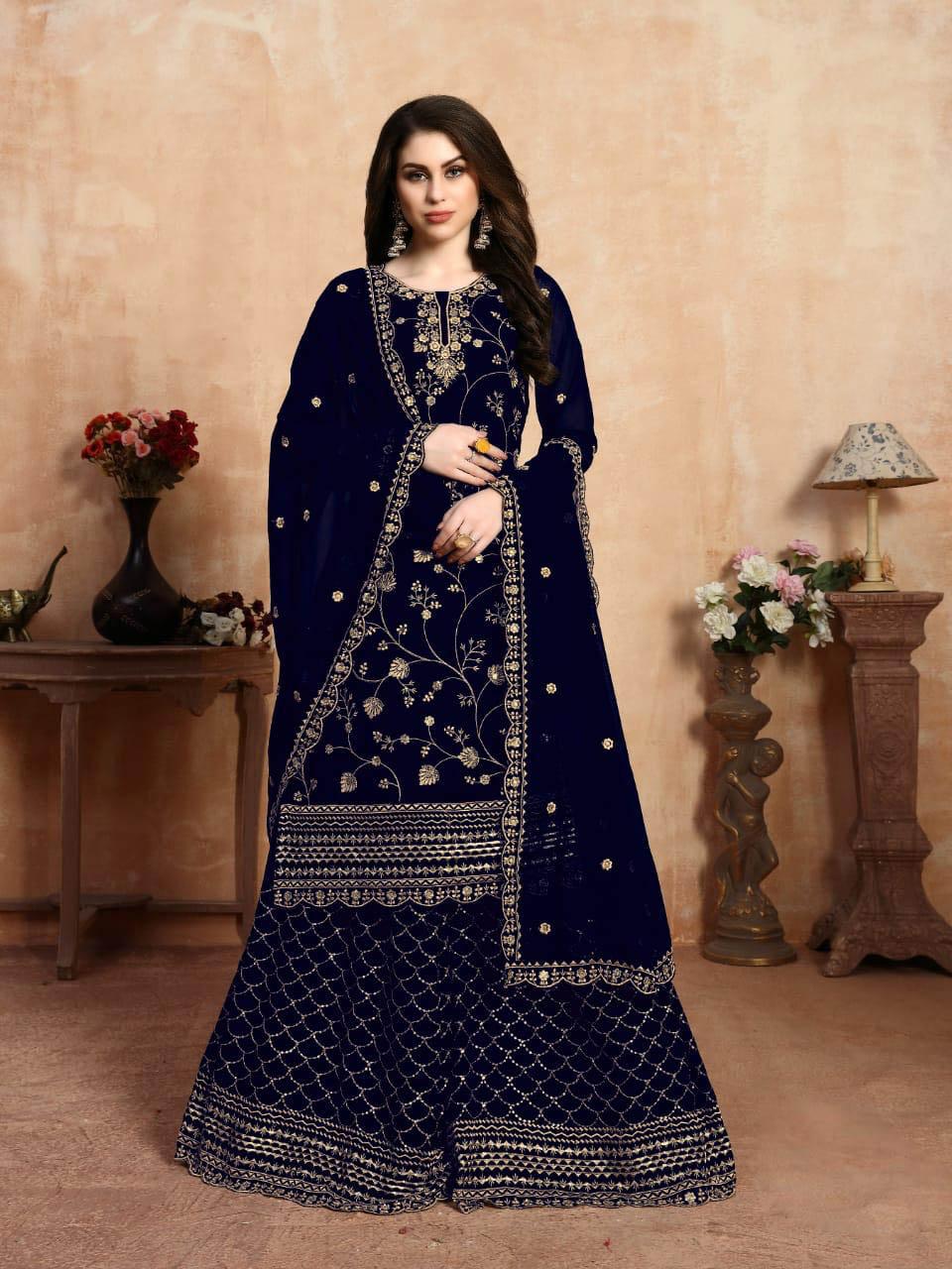 New Trend Designer Blue Color Salwar Kameez Online.