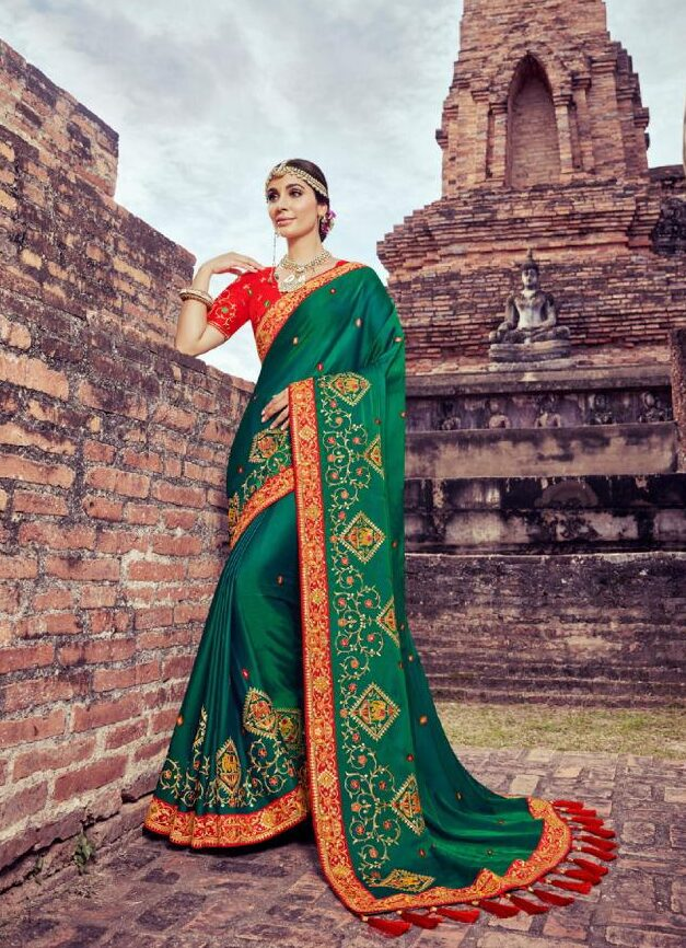 New Trend Designer Green Color Latest Wedding Saree Online