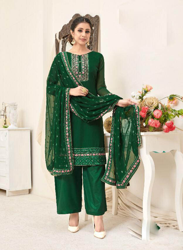 New Trend Designer Green Color Patiala Suit For Girls.